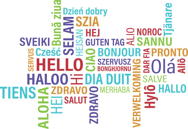 Påskrifter på forskjellige språk